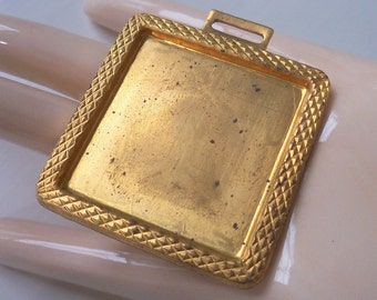 Large Industrial Vintage Oxidized Brass Square Pendant Blank - Perfect For Collage And Embellishment
