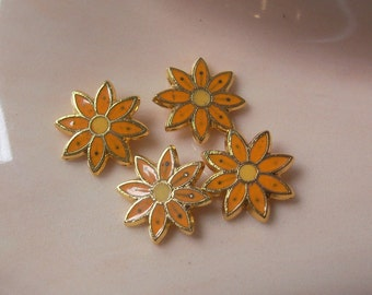 Vintage Enamel Flower Findings Orange With Yellow Over Gold