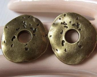 Unusual Antiqued Brass Freeform Primitive Donuts - Unusual Industrial Findings