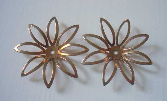 Vintage Metal Flower Findings Oxidized Metal Perfect For Stacking And Layering