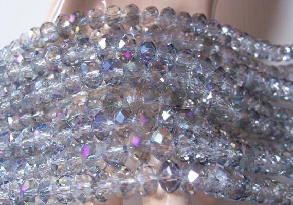 SALE **** 1 Strand Faceted Crystal Rondelles 8mm x 5mm Light Heliotrope