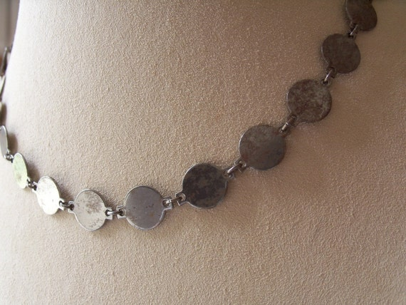Vintage Oxidized Silver Blank Coin Necklace - Collage And Embellishment