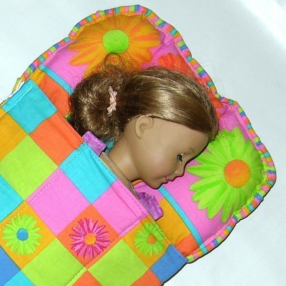 Free Crochet Pattern For American Girl Sleeping Bag : Doll Bedding Sleeping Bag Pattern and Instructions PDF Fits