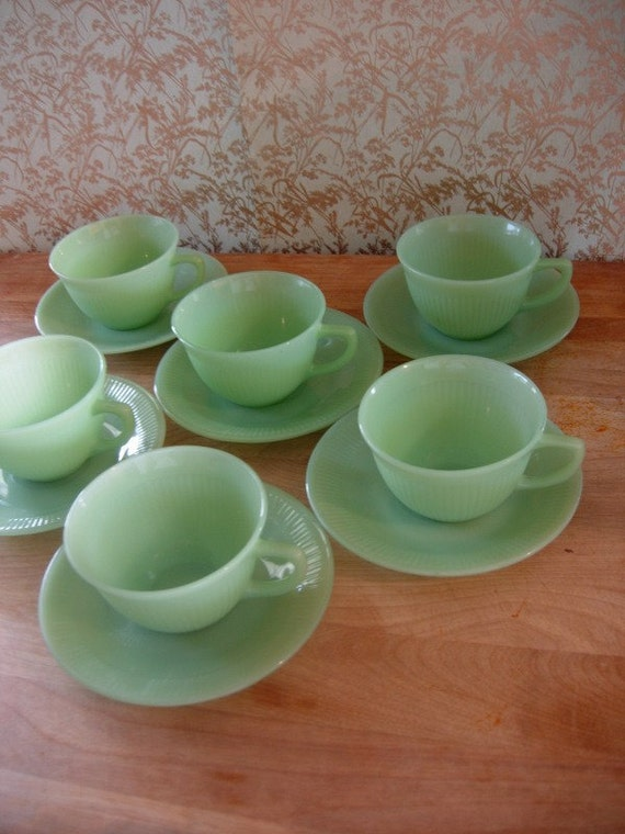 Set of 6 Vintage Fire King Jane Ray Jadeite Jadite Cups and Saucers Restaurantware