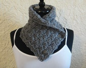 Crochet Cowl in Grey- Scarflette with Buttons-Neckwarmer C-19