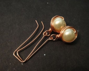 Ivory Pearls Earrings wrapped in copper - Great For Weddings-Elegant and Pretty E-30