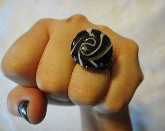 Black and White Peppermint Candy Ring R-6