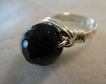 Black and Silver Ring R-7
