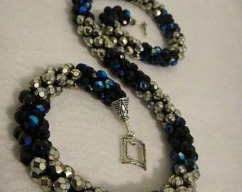 Crochet Necklace - Wear long or short, fire polished glass, black, gold, gold carmen, sterling silver findings, crochet jewelry (N39)
