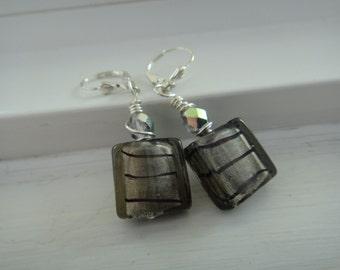 Fire polished Zebra print wire wrappd earrings E-91