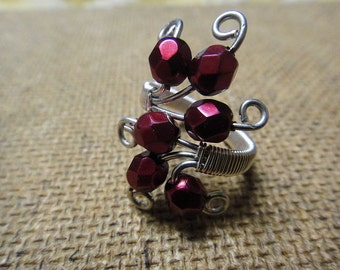 Red Adjustable Ring - Cocktail Ring - Wire wrapped - Silver plate wire - Red carmen fire polished beads - R-11