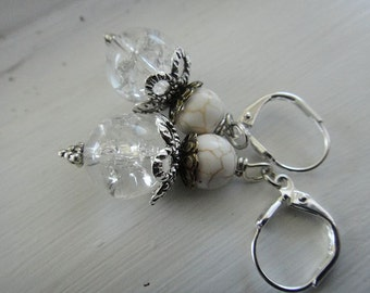Cracked Glass Earrings, Brass and Silver Earrings, White Earrings, Magnesite Earrings E-69