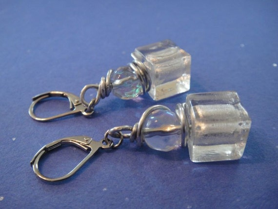 Ice Earrings wrapped in silver tone wire E-10