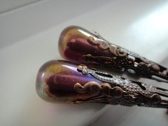 Purple and Bluish Earrings - Large Teardrop Glass Beads - Copper Filigree - Chandelier - Vintage Earrings - Victorian Earrings - E-98