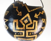 Tribal Gourd African Inspired Hand Carved Hanging Vase