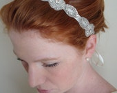 Claire Series II- Crystal and Rhinestone Ribbon Headband/Belt