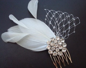 Kate- Rhinestone Brooch and Feather Bridal Comb