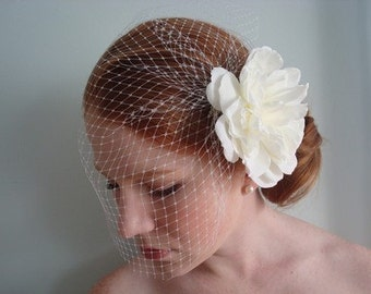 Sale-15% Off-Charlotte- White Hair Flower and White Birdcage Set