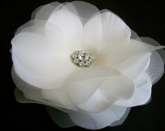 Caroline Series- Ivory Organza Flower with Rhinestones