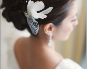 Kate Rhinestone Brooch and Feather Bridal Comb