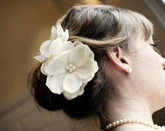 Anna-Double Ivory Hair Flowers
