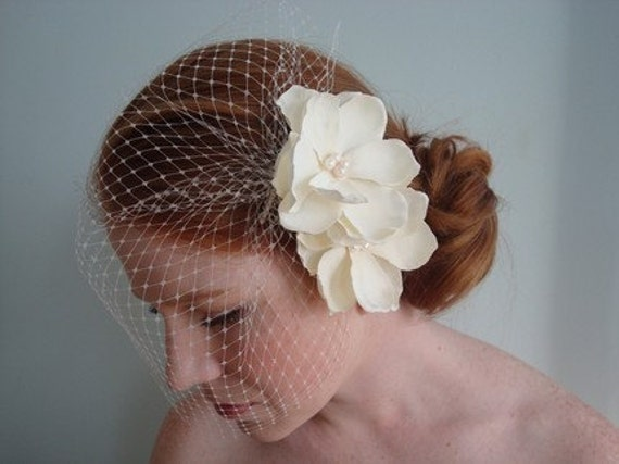 Anna Double Ivory Hair Flower and Birdcage Set