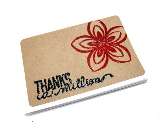 "Thanks A Million Stamped Embossed with Flower on Kraft Rectangle Permanent Labels - 2""x3"" - QTY 5"