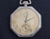 Reserved for Cristina 1928 Waltham Art Deco Pocket Watch Size 12