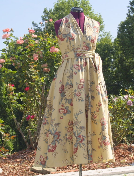 Vintage Ralph Lauren SundressTan With Dark Red and Cream Roses and Bluish Green Leaves Free USA Shipping