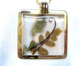 SALE!  Large Pressed  Plant Pendant, Wild Rushes, Resin, Brass (738)