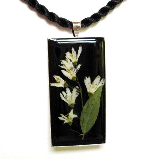 SALE! TIMELESS, Pressed Flowers on Black, Pendant (568)