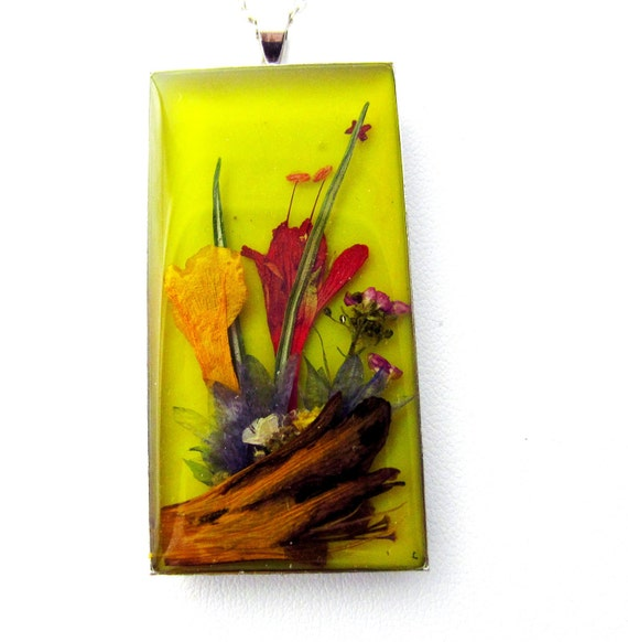Driftwood and Flowers, Pressed Flower Pendant, Real Flowers in Resin (962)