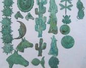 Verdigris Green Patina Brass Stampings