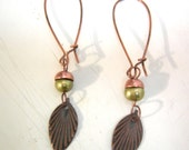 RESERVED for Punkscrapper - Green Acorn Leaf Dangle Earrings