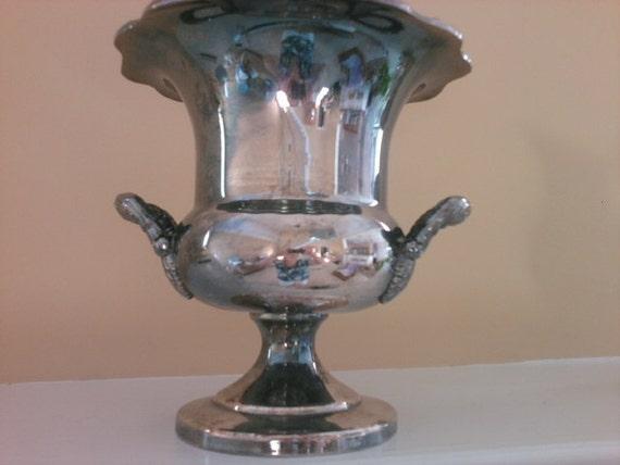 Vintage Ornate Tarnished Silverplate Engraved Trophy Vase or Ice Bucket