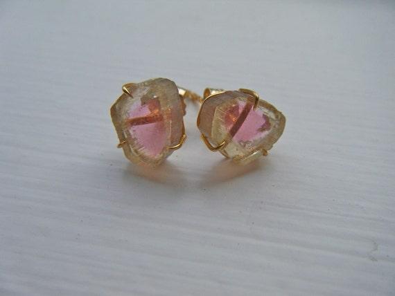 14k yellow gold Watermelon Tourmaline stud earrings