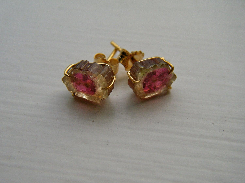 18k yellow gold watermelon tourmaline stud earrings