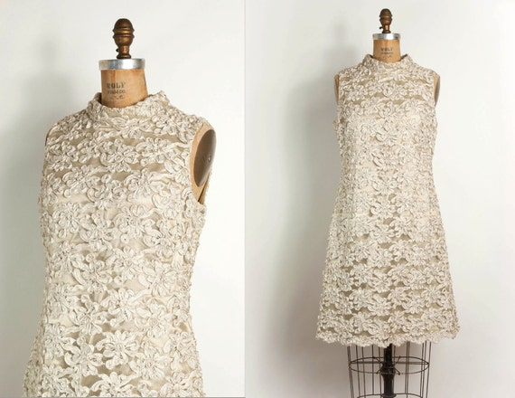 vintage 1960s dress / 60s ribbon lace soutache dress (small - medium)