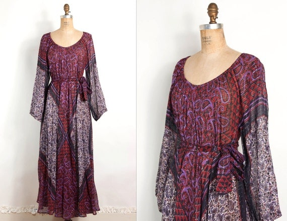 vintage 1970s dress / 70s boho sultana adini hippie dress (one size)