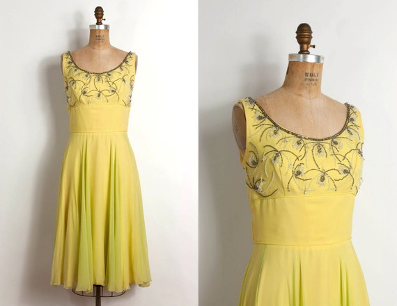 vintage 1960s dress / 60s cocktail dress beaded silk chiffon (small)