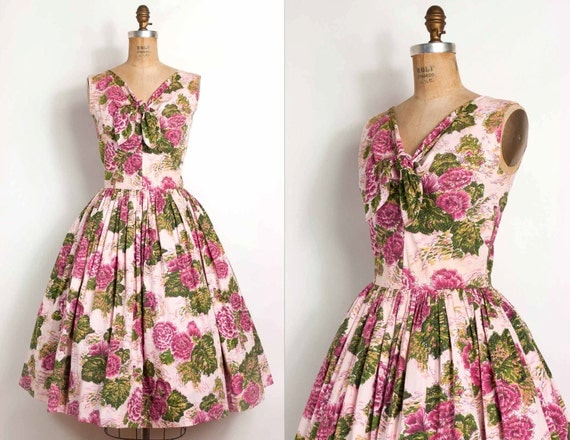 vintage 1950s dress / 50s pink floral cotton party dress (small - medium)