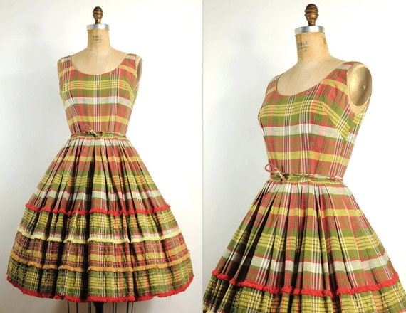vintage 1950s dress / 50s plaid party dress  (small)