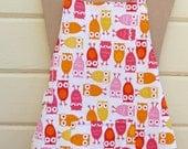 Owl preschool apron in warm tones
