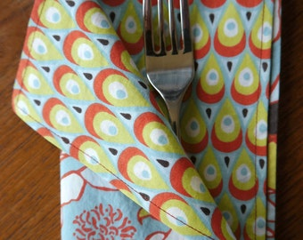 Peony and peacock organic cotton double sided napkins