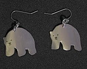 Polar bear earrings made from recycled soda cans