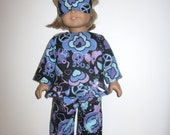 Doll Clothes for American Girl Dolls, Black Flannel Peace, Love, and Hearts Pajama's And Sleep Mask