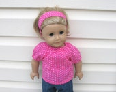 18 Inch American Girl Doll Clothes, Pink with White Polka Dot Peasant Shirt and Boot Cut Flared Jean Pants
