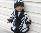 18 inch Doll Clothes for American Girl Size Dolls, Black and White Zebra Print Swing Coat and Hat