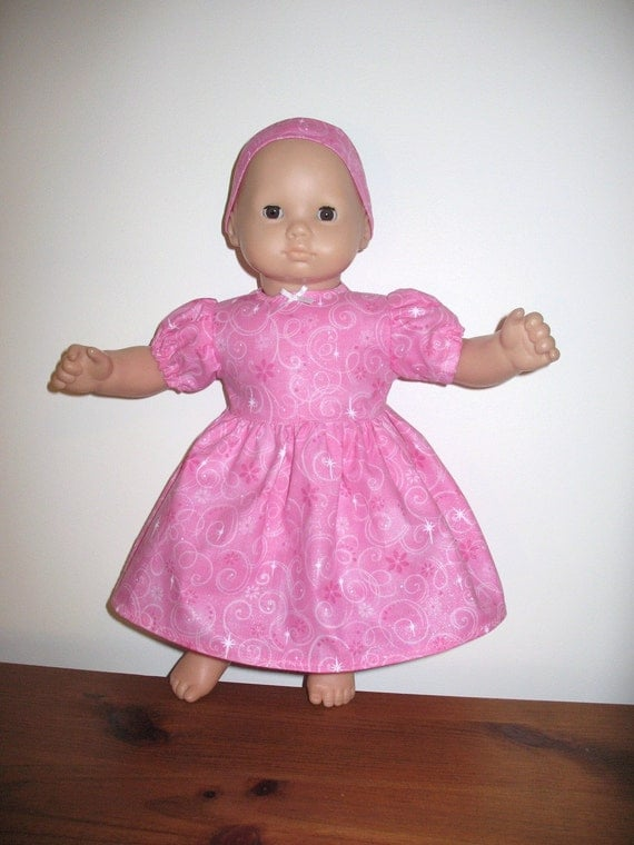 Doll Clothes for Bitty Baby or Bitty Twin Dolls, Pink Glitter Dress with Princess Stars and Swirls