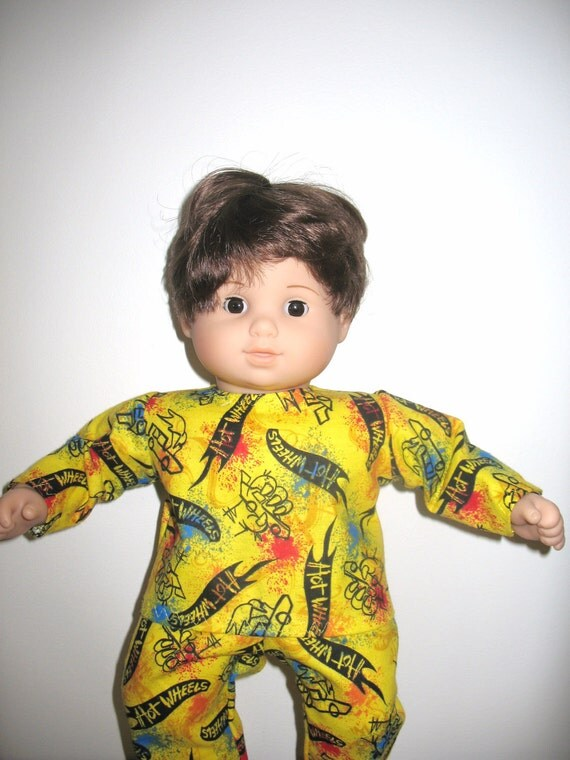 Doll Clothes 15 Inch for Bitty Baby or Bitty Twin Baby Dolls, Pajamas with Colorful Paint Splatters and Cars